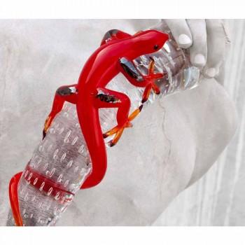 Adorno decorativo de vidrio en forma de gecko sobre cuerno Made in Italy - Corino