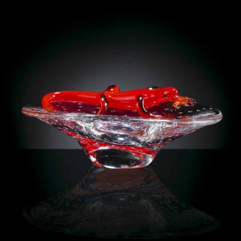 Adorno decorativo en vidrio transparente y rojo Made in Italy - Sossio