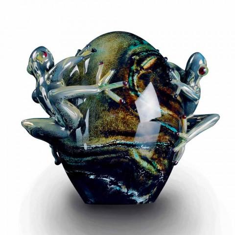Adorno de vidrio en forma de huevo con ranas Made in Italy - Huevo
