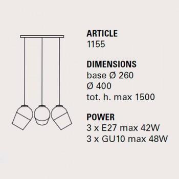 Lámpara de suspensión con tres Imanes metálicos - Lámparas Toscot