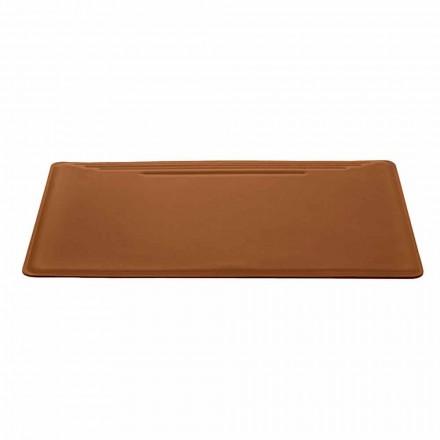 Almohadilla de escritorio Made in Italy en cuero regenerado con tope para pluma - Costuras Ebe