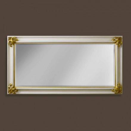 Espejo de pared de madera hecho a mano de diseño moderno hecho en Italia Stefano