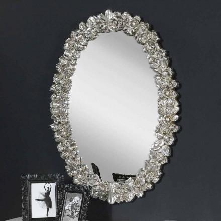 Espejo de pared moderno en madera de abeto, completamente hecho a mano en Italia, Filippo