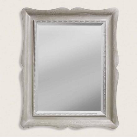 Espejo de pared de madera de ayous de diseño moderno, producido en Italia, Angelo