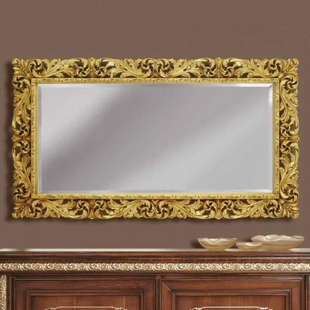 Espejo de pared de madera con líneas modernas, hecho a mano en Italia, Alex.