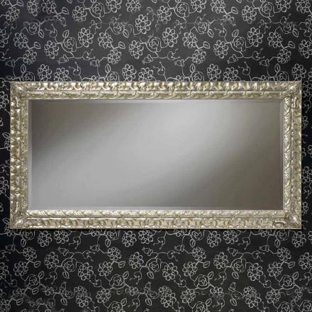 Espejo de pared hecho a mano rectangular de madera, hecho en Italia, Nicolò