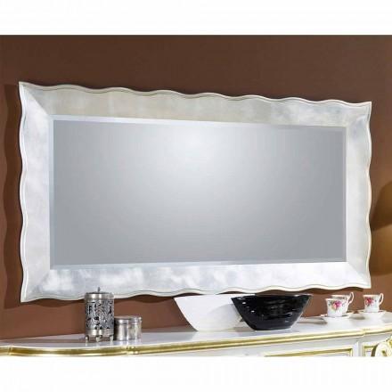 Espejo de pared hecho a mano rectangular de madera, producido en Italia, Simone