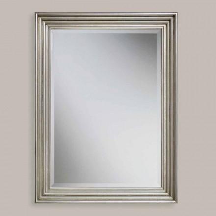 Espejo de pared hecho a mano en madera de oro / plata, producido en Italia, Stefania