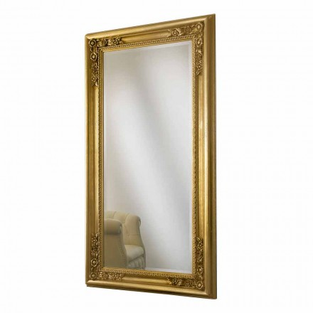 Espejo de pared en madera de oro / plata, completamente hecho a mano en Italia, Michele