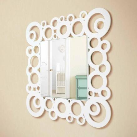 Espejo de pared cuadrado blanco de diseño moderno con decoraciones de madera - Burbuja