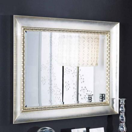 Espejo de pared rectangular en madera ayous, hecho a mano en Italia, Igor