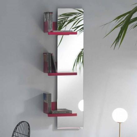 Espejo de pared y 3 estantes de metal de colores de diseño de lujo - Noelle
