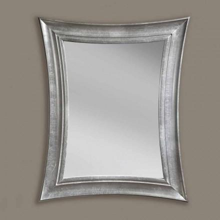 Espejo de pared de madera rectangular hecho a mano Sandro, producido en Italia.