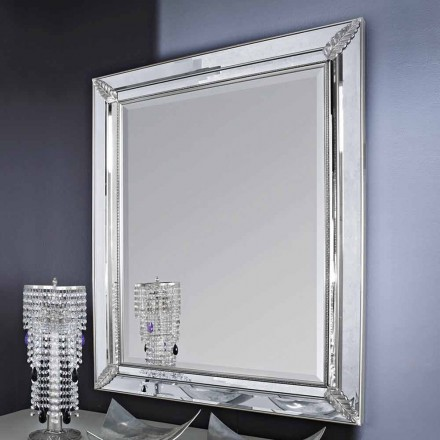 Espejo de pared en madera de plata / oro, completamente hecho a mano en Italia, Samuele