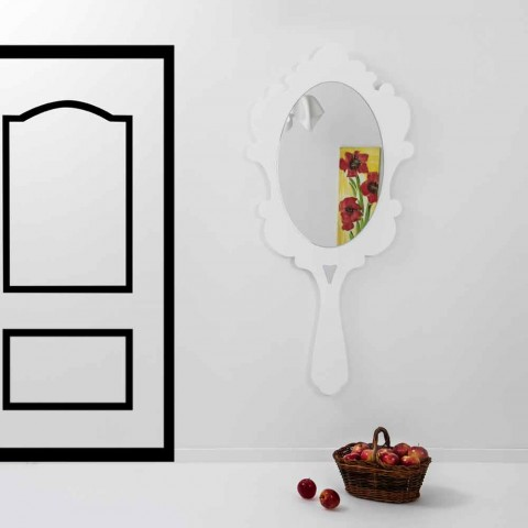 ecf55cd06075 Espejo de pared blanco con marco decorado Nieve hecha en Italia