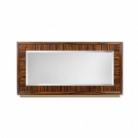 espejo biselado de la pared de ébano pulido y metal Ada 1