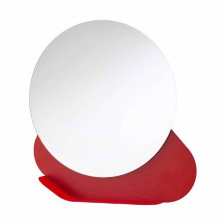Espejo de pared con repisa de metal en varios colores Made in Italy - Hera
