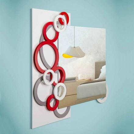 Blanco Rojo Gris Diseño moderno Espejo de pared en madera - Ilusión