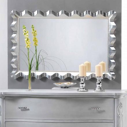 Espejo de pared de diseño moderno decorado con perlas Carril