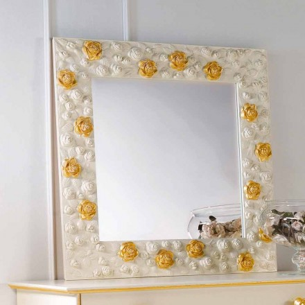 Espejo de pared de diseño decorado con rosas flor
