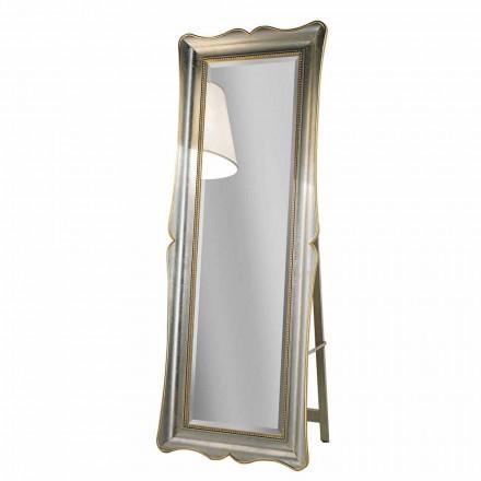 Espejo de piso de madera ayous con pedestal, producido en Italia, Jonni