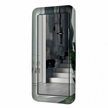 Espejo rectangular largo con marco de efecto cristal Made in Italy - Loop