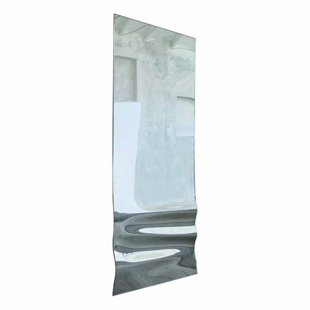 Espejo grande con acabado de cristal ondulado Made in Italy - Athena