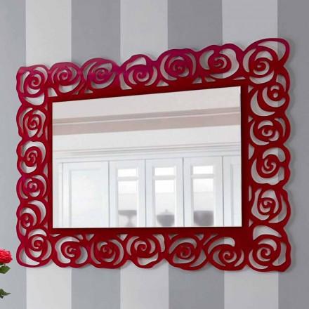 Espejo de pared moderno grande en plexiglás rojo - Rosalinda