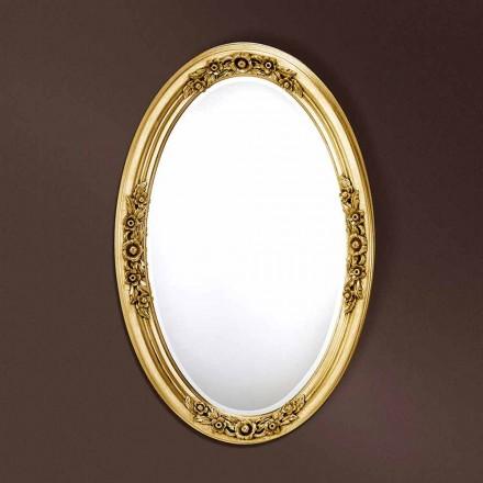 Espejo ovalado moderno hecho a mano de madera, producido en Italia, Federico