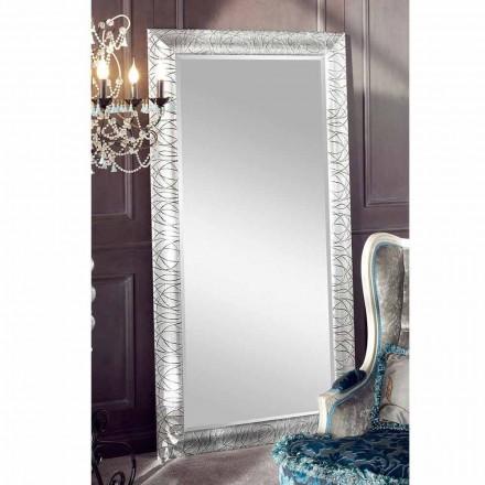 Espejo de pared rectangular de madera de abeto, producido en Italia, Achille