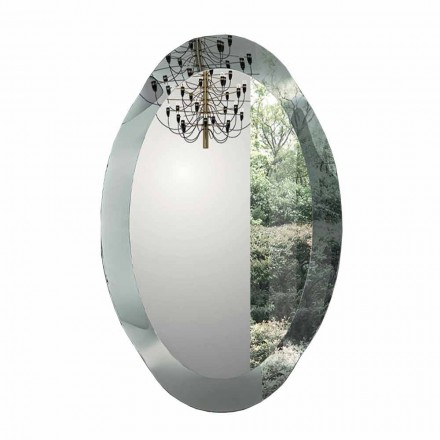 Espejo de pared ovalado de cristal ondulado hecho en Italia - Eclisse