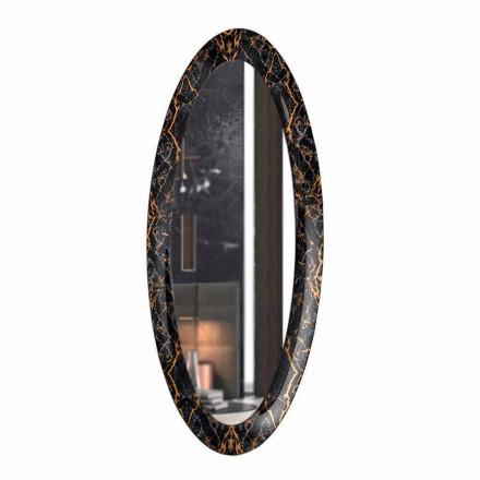 Espejo de pared largo ovalado con marco de efecto mármol Made in Italy - Denisse