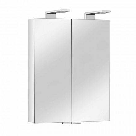 Espejo de 2 puertas con contenedor de aluminio plateado y detalles cromados - Maxi