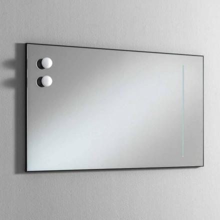 Espejo de pared para baño con 2 bombillas y marco negro Made in Italy - Marco