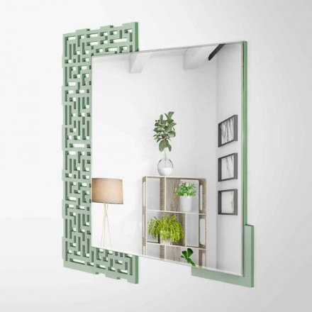 Espejo de pared cuadrado de diseño moderno en madera verde decorada - Laberinto