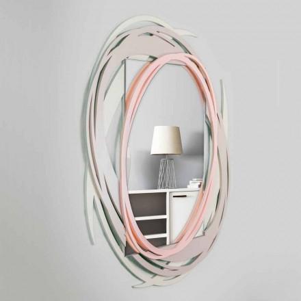Espejo de pared moderno con diseño decorativo en madera coloreada - Orbita