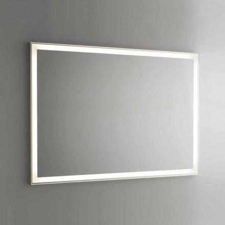 Espejo de baño en imitación de aluminio con retroiluminación Made in Italy - Palau
