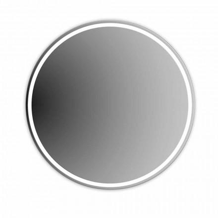 Espejo de baño redondo retroiluminado con chorro de arena Made in Italy - Ranio