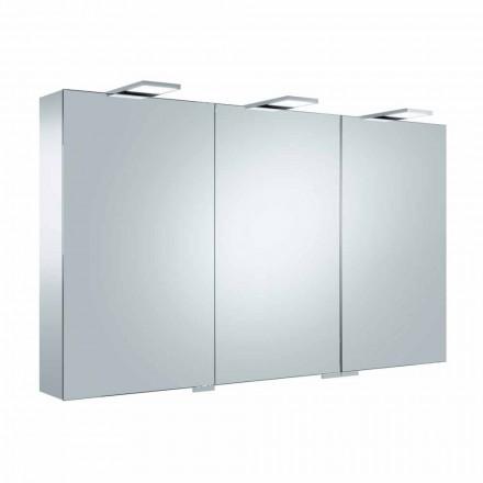 Espejo contenedor de 3 puertas con 9 estantes internos e iluminación LED - Trinquete