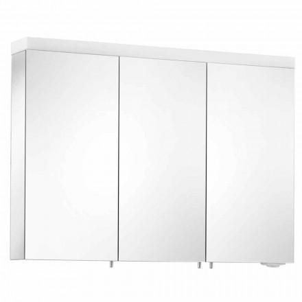 Espejo con almacenamiento de pared con 3 puertas en aluminio pintado plateado - Alfio