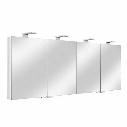 Contenedor de Espejo con 4 Puertas de Cristal con 12 Estantes y 4 Luces LED - Maxi