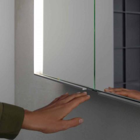 Mueble moderno con espejo empotrado en aluminio pintado plateado - Demon