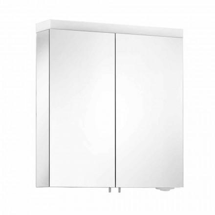 Espejo con 2 puertas de aluminio pintado en plata, Alfio moderno