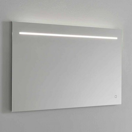 Espejo de pared moderno con luz LED y marco de acero Made in Italy - Yutta
