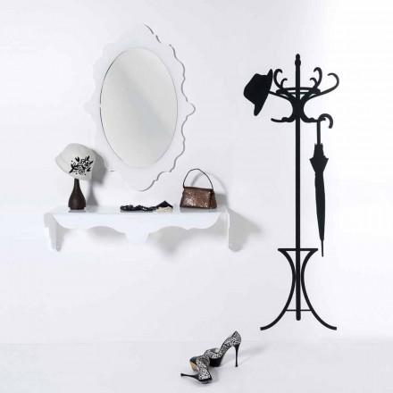 Espejo de pared de diseño blanco Marco de alegría decorado, hecho en Italia