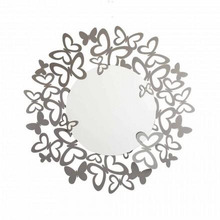 Espejo de pared circular de diseño moderno en hierro hecho en Italia - Stelio