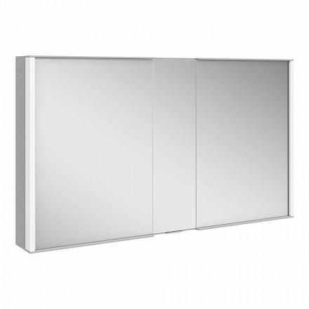 Espejo de pared moderno con 3 puertas en aluminio pintado plateado - Demon