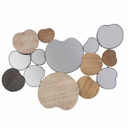 Espejo de pared de diseño moderno en madera y hierro - Ortensio