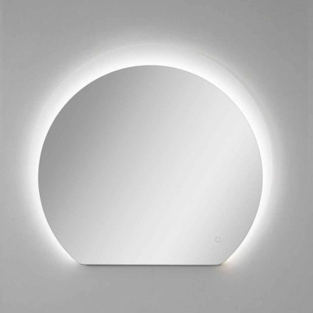 Espejo de pared moderno con detalle arenado y LED Made in Italy - Rialto