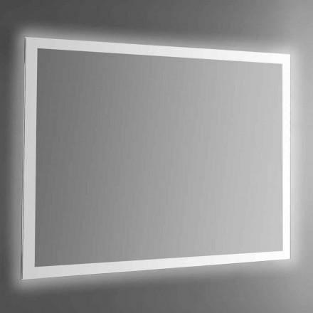 Espejo de pared retroiluminado con marco pulido con chorro de arena Made in Italy - Edigio